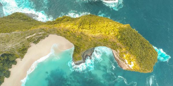 View over Dinosaur Head and Kelingking Beach in Nusa Penida, Bali, Indonesia