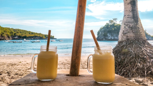 Smoothies at Crystal Bay in Nusa Penida, Bali, Indonesia