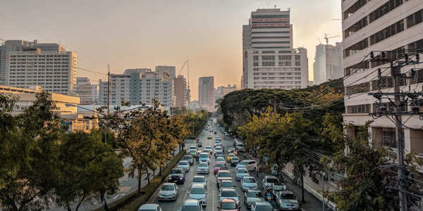 Road traffic in Bangkok, Thailand