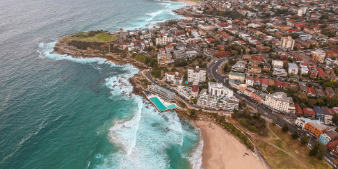 Drone shot of Bondi Beach, Sydney, Australia