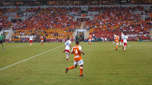 Football match of Brisbane Roar-Adelaide United at the Suncorp Stadium in Brisbane, Australia
