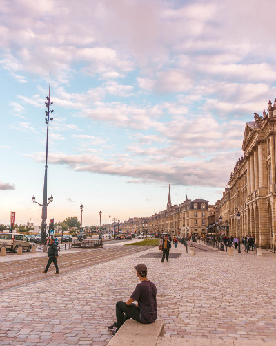 Buildings along the Garonne in Bordeaux, France