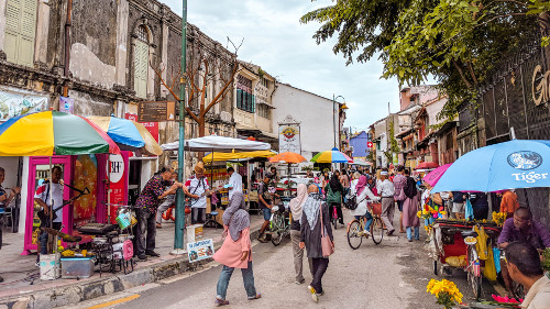 Bustling center of the UNESCO World Heritage Site in George Town, Penang