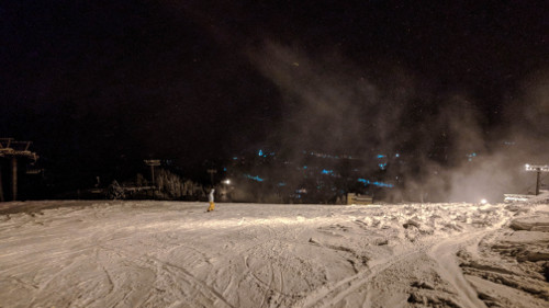 Night snowboarding in Ishiuchi, Japan