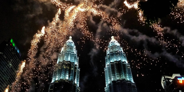 New Year's Fireworks in Kuala Lumpur, Malaysia