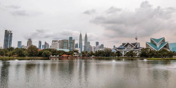 Kuala Lumpur skyline from Taman Tasik Titiwangsa Lake Gardens