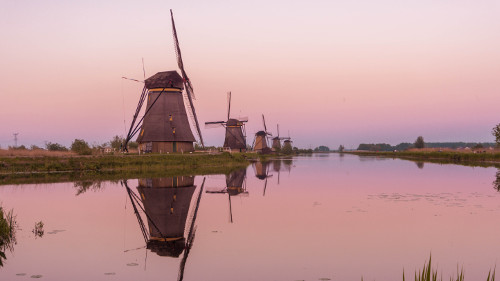 Sunset in Kinderdijk, the Netherlands