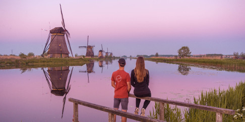 Sunset at UNESCO World Heritage Kinderdijk, Holland, the Netherlands