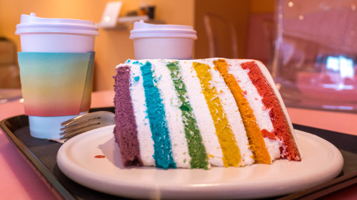 Rainbow cake at Instagrammable café Doré Doré in Seoul, Korea