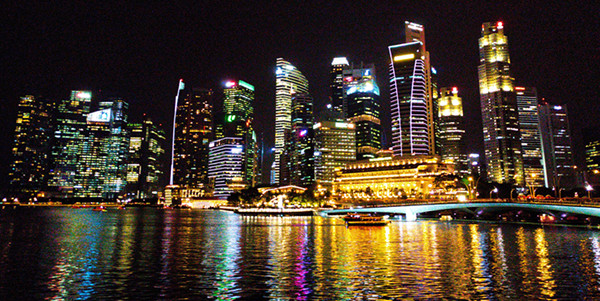 Singapore Marina Bay Skyline at Night