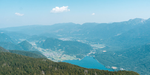 View of Lake Bohinj from Prsivec in Triglav National Park, Slovenia