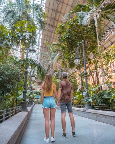 Instagrammable Place Tropical Garden in Atocha Station, Madrid, Spain