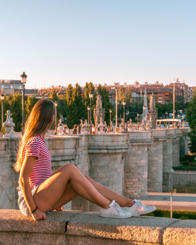 Sunset at Instagrammable Place Toledo Bridg in Madrid Rio Park, Spain
