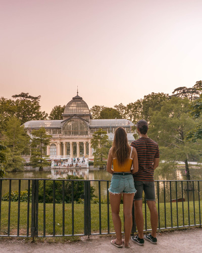 Sunset at Instagrammable Place Crystal Palace in Madrid, Spain