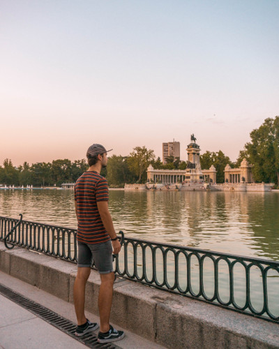 Sunset at Instagrammable Place Retiro Pond in Madrid, Spain