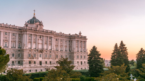 Sunset at the Royal Palace in Madrid, Spain