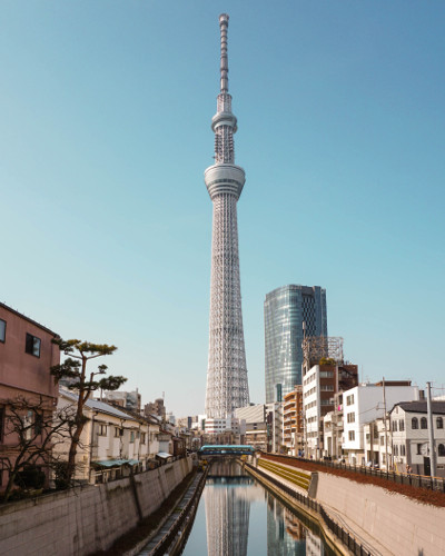 View of the Tokyo SkyTree from the Jikken Bridge in Tokyo, Japan
